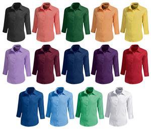 Baw Ladies 3/4 Sleeve Rainbow Woven Blouses