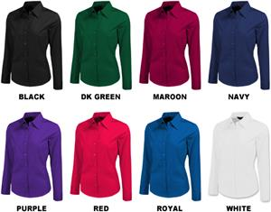 Baw Ladies Long Sleeve Color Brite Woven Blouses