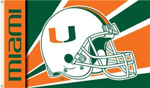 COLLEGIATE Miami Hurricanes Helmet 3' x 5' Flag
