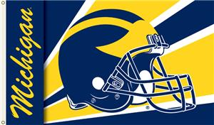 COLLEGIATE Michigan Wolverines Helmet 3&#39; x 5&#39; Flag