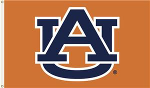 COLLEGIATE Auburn Orange &quot;AU&quot; Only 3&#39; x 5&#39; Flag