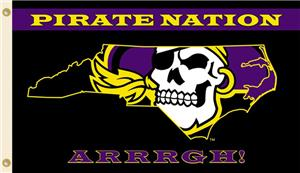 COLLEGIATE E. Carolina Pirate Nation 3' x 5' Flag