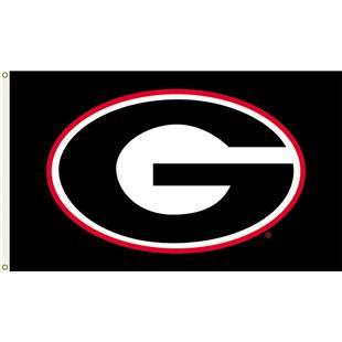 """COLLEGIATE Georgia """"G"""" Black 3' x 5' Flag"""