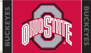 COLLEGIATE Ohio State on Red 3' x 5' Flag