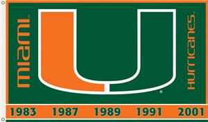 COLLEGIATE Miami 2-Sided 3' x 5' Flag