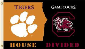 COLLEGIATE Clemson-S. Carolina House Divided Flag
