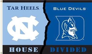 COLLEGIATE N. Carolina-Duke House Divided Flag