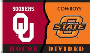 COLLEGIATE Oklahoma-Oklahoma St House Divided Flag