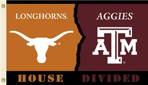 COLLEGIATE Texas-Texas A&M House Divided Flag