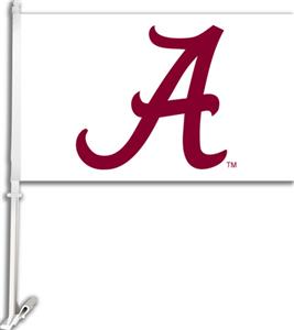 "COLLEGIATE Alabama ""A"" on White 11"" x 18"" Car Flag"