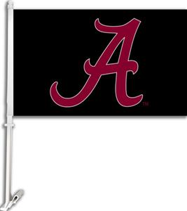 "COLLEGIATE Alabama ""A"" on Black 11"" x 18"" Car Flag"