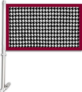 "COLLEGIATE Houndstooth Pattern 11"" x 18"" Car Flag"