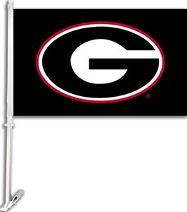 "COLLEGIATE Georgia on Black 11"" x 18"" Car Flag"