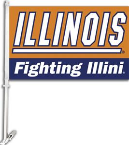 "COLLEGIATE Illinois 2-Sided 11"" x 18"" Car Flag"