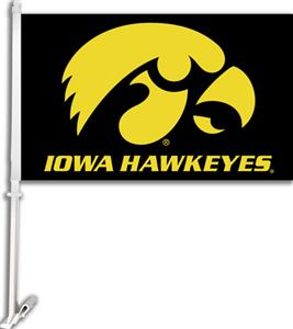 COLLEGIATE Iowa Black 2-Sided 11&quot; x 18&quot; Car Flag