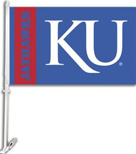 "COLLEGIATE Kansas ""KU"" 2-Sided 11"" x 18"" Car Flag"