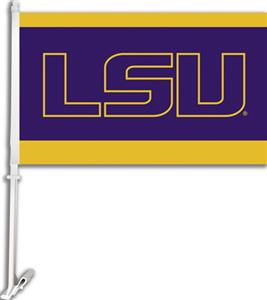 "COLLEGIATE LSU Letters 2-Sided 11"" x 18"" Car Flag"