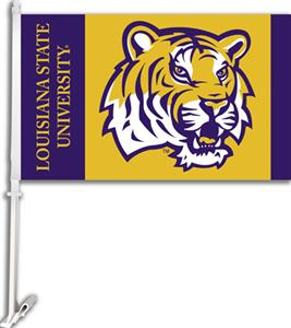 "COLLEGIATE LSU Tiger Head 11"" x 18"" Car Flag"