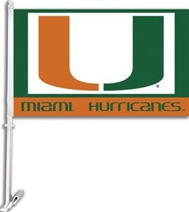 "COLLEGIATE Miami 2-Sided 11"" x 18"" Car Flag"