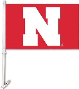 "COLLEGIATE Nebraska Red 2-Sided 11"" x 18"" Car Flag"