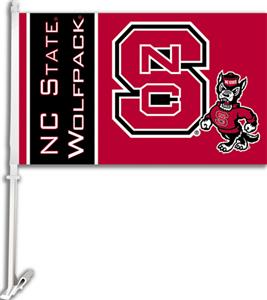 "COLLEGIATE NC State 2-Sided 11"" x 18"" Car Flag"
