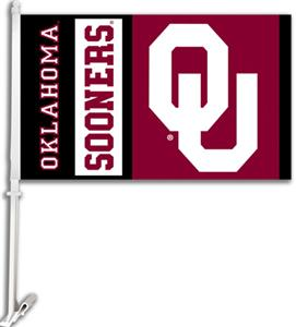 "COLLEGIATE Oklahoma 2-Sided 11"" x 18"" Car Flag"