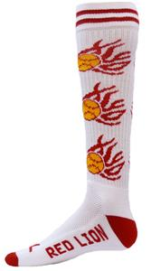 Red Lion White Heat Flaming Softballs Socks