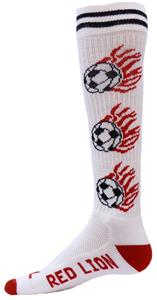 Red Lion White Heat Flaming Soccer Ball Socks