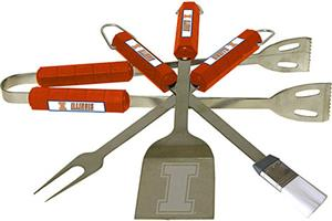 COLLEGIATE Illinois 4 Piece BBQ Set
