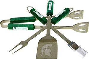 COLLEGIATE Michigan State 4 Piece BBQ Set