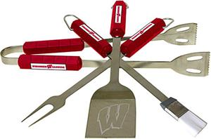 COLLEGIATE Wisconsin 4 Piece BBQ Set