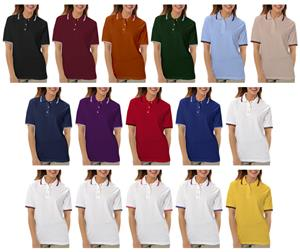 Blue Generation Ladies SS Collar/Cuff Pique Polo