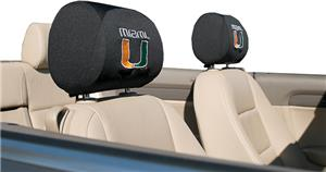 COLLEGIATE Miami Headrest Covers - Set of 2