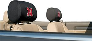 COLLEGIATE Nebraska Headrest Covers - Set of 2