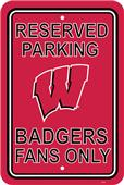 COLLEGIATE Wisconsin Plastic Parking Sign
