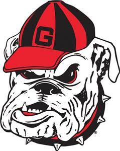 COLLEGIATE Georgia Bulldog Head 12&quot; Vinyl Magnet
