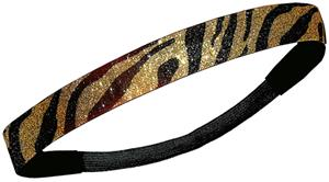 Diamond Duds Black/Gold Zebra Glitter Headbands