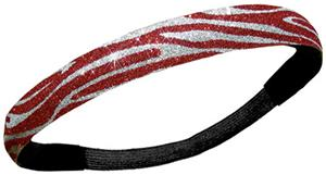 Diamond Duds Red/Silver Zebra Glitter Headbands