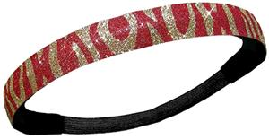 Diamond Duds Red/Gold Zebra Glitter Headbands
