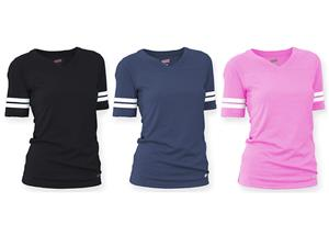 Soffe Girl's V-Neck Football Tee