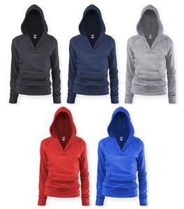 Soffe Girl&#39;s Rugby Deep V Hoodies