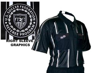 USSF Pro Soccer Referee Jerseys Black -Striped