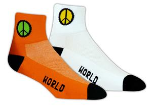 Red Lion Peace Sign High Tech 1/4 Crew Socks