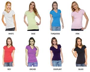 In Your Face Apparel Jr V-Neck Cap Sleeve Shirts