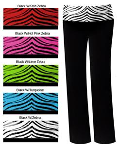 Pizzazz Roll-Down Zebra Waist Pants