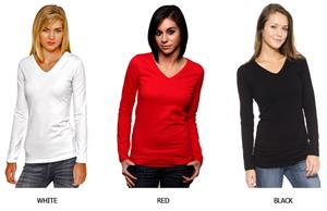 In Your Face Apparel Jr V-Neck Long Sleeve Shirts