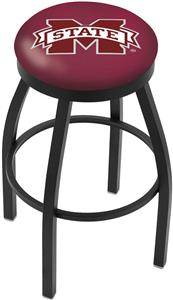 Mississippi State Univ Flat Ring Blk Bar Stool