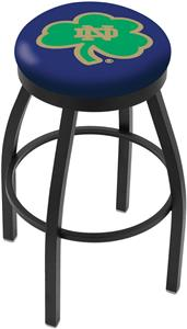 Notre Dame Shamrock Flat Ring Blk Bar Stool
