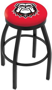 Univ of Georgia Bulldog Flat Ring Blk Bar Stool