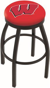 "Univ of Wisconsin ""W"" Flat Ring Blk Bar Stool"